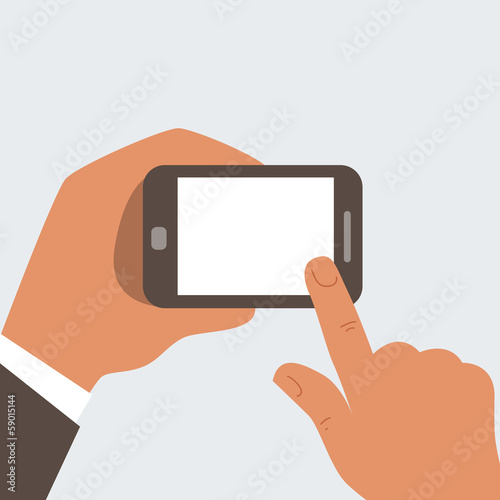 Businessman touches mobile phone with blank screen