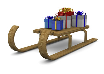 Sleigh and gift - 3D
