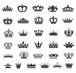 Set of  crown icons.