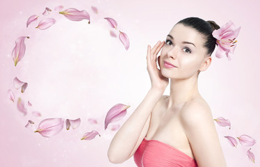 Beautiful brunette woman - body and skin care concept