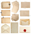 set of various old paper sheets, cards, envelopes