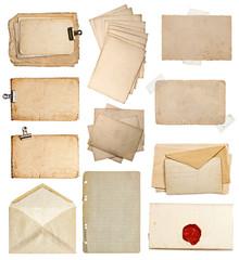 set of various old paper sheets, cards, envelopes