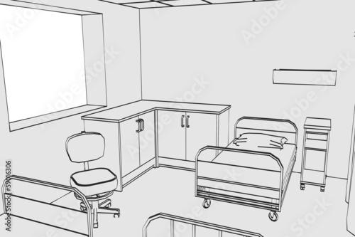 cartoon image of hospital room