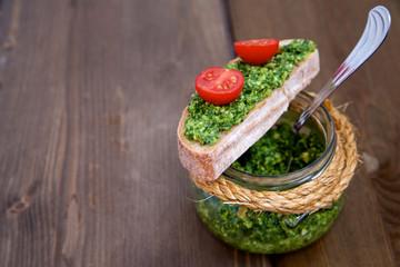 Homemade pesto in a jar