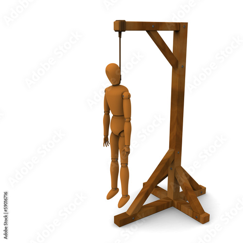 3D model of puppet hung on wooden post
