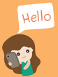 Cartoon cute girl saying hello, Vector illustration