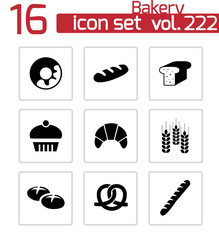 Vector black bakery icons set