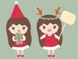 Cartoon Girls Dressed in a Santa Claus Costume