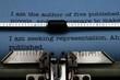 Publishing letter on typewriter