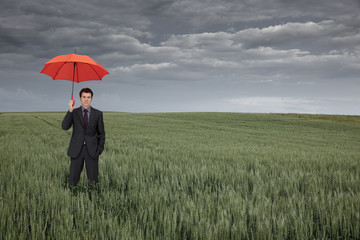 Man with umbrella in field