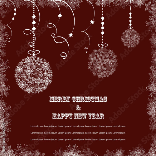 Card with christmas ball snowflakes brown
