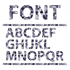 Abstract mosaics alphabet set. Font. Vector illustration