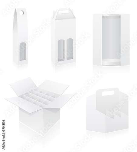 packing box for bottle set icons vector illustration