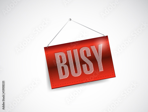 busy hanging banner sign illustration design