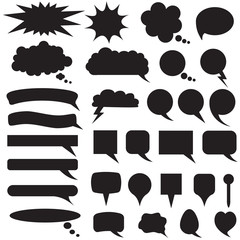 Set silhouette speech bubbles