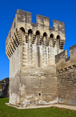 Tower of town fortifications (XIV c.) in Avignon, France