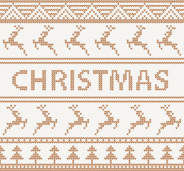 Christmas knitted pattern with deers. seamless