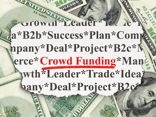 Finance concept: Crowd Funding on Money background