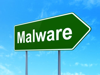 Safety concept: Malware on road sign background