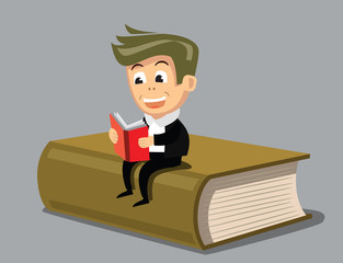 vector boy reading a book
