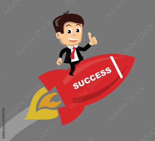 vector businessman flying on the rocket
