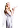 blonder Engel mit Angebots-Geste