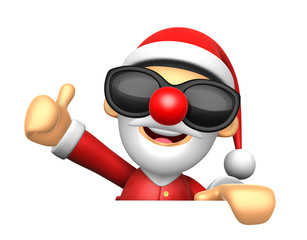 3D Santa Mascot the right hand best gesture and left hand is hol
