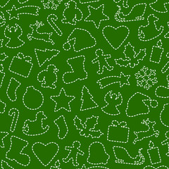Green Background with Christmas Symbols