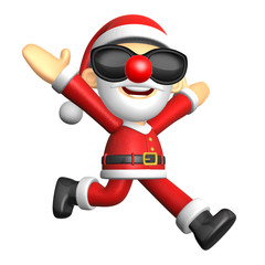 3D Santa character on Running to be strong. 3D Christmas Charact