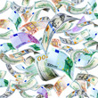 Dollar and Euro banknotes falling and spinning isolated on white