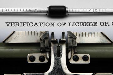 Verification of license on typewriter