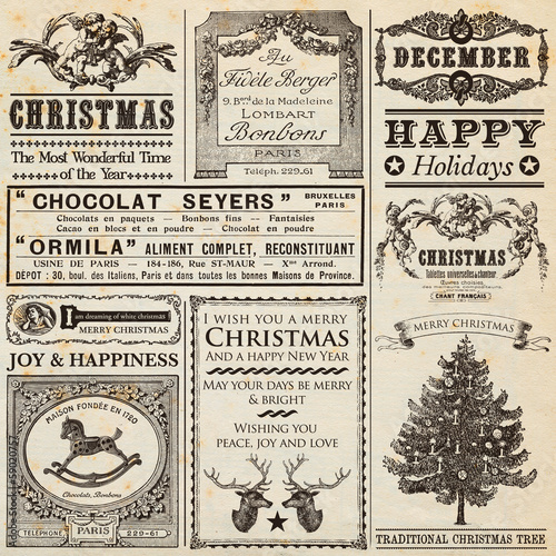 Deurstickers Retro Christmas Newspaper
