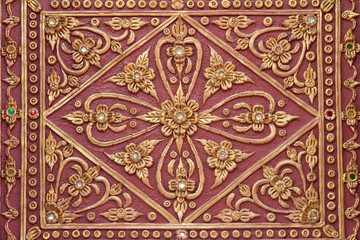 pattern stucco gold red temple wall background