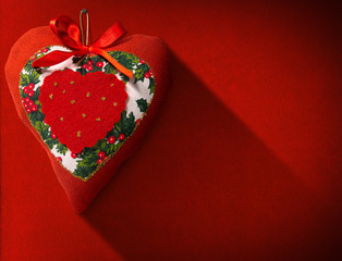 Christmas Heart Decoration on Red Velvet