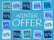 winter offer and percentages in squares - retro blue label