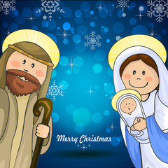 Holy family blue background