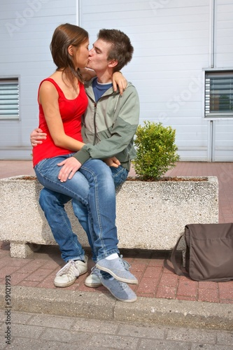 Boy and girl, teens kissing