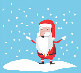 Cute santa playing with snow