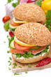burger with smoked salmon and vegetables, isolated