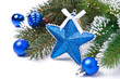 Christmas card - star, blue balls, fir branches, isolated