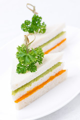 colorful sandwich with vegetable puree