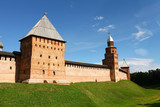 Fortress wall with towers. Novgorod Kremlin. Russia