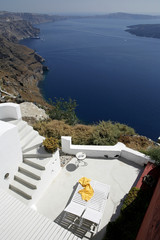 View of Mediterranean sea from terrace in Santorini Greece