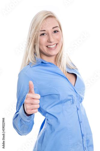 Isolierte junge blonde Frau mit Daumen hoch - 59022944