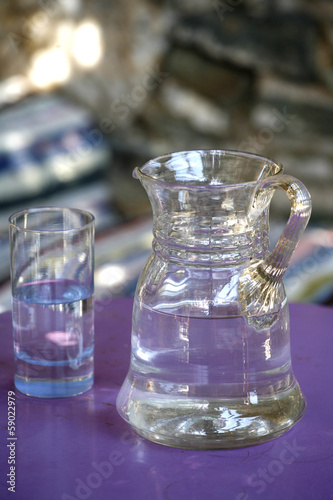Water pitcher and glass