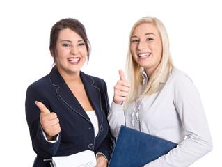 Zwei junge Frauen isoliert in Bürokleidung - Auszubildende