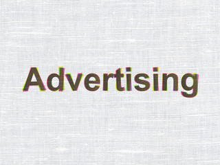 Marketing concept: Advertising on fabric texture background
