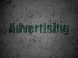 Marketing concept: Advertising on grunge wall background