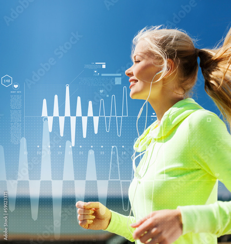 smiling woman doing running outdoors