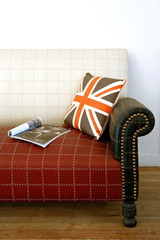 Sofa corner decorated with English flag patterned pillow